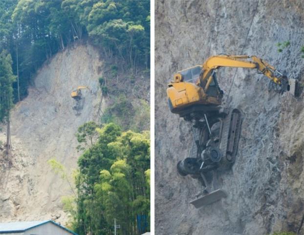 Máy đào đất cheo leo trên vách núi