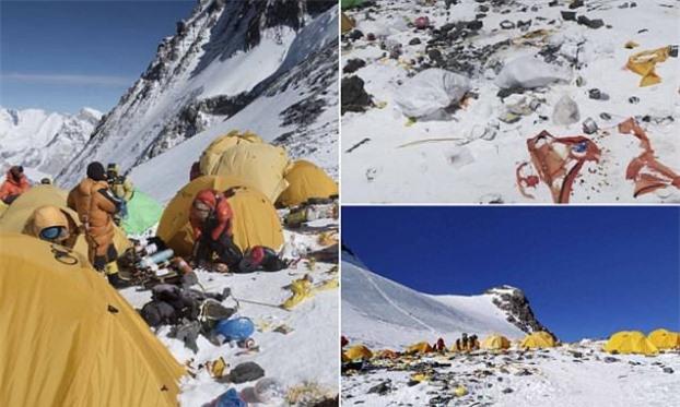 'Nóc nhà' của thế giới - đỉnh Everest - đang dần trở thành ngọn núi rác do người leo núi và khách du lịch để lại. Ngoài ra, băng tan do biến đổi khí hậu còn để lộ thêm nhiều thi thể người