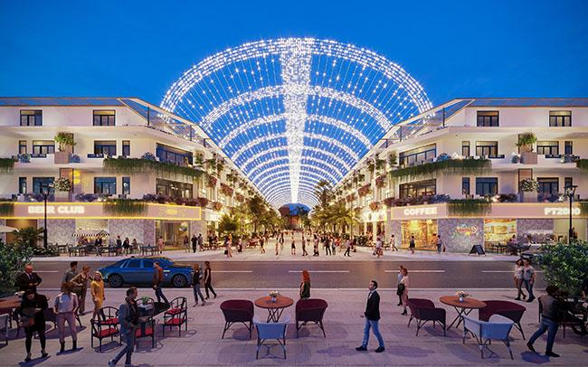 Phối cảnh phố đi bộ trung tâm của dự án Đại đô thị 46ha Felicia City Bình Phước, còn gọi là Khu đô thị dịch vụ - thương mại Mỹ Lệ.