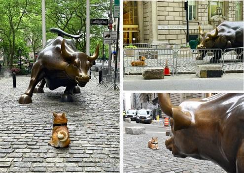Tượng Dogecoin đặt đối diện với chú bò đực của Phố Wall như một thách thức với nền tài chính truyền thống