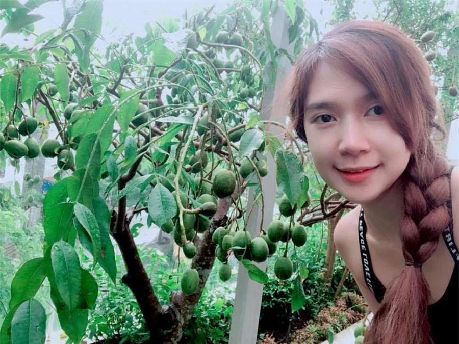 Minh Hà thích thú chụp hình bên cây cóc của gia đình mình