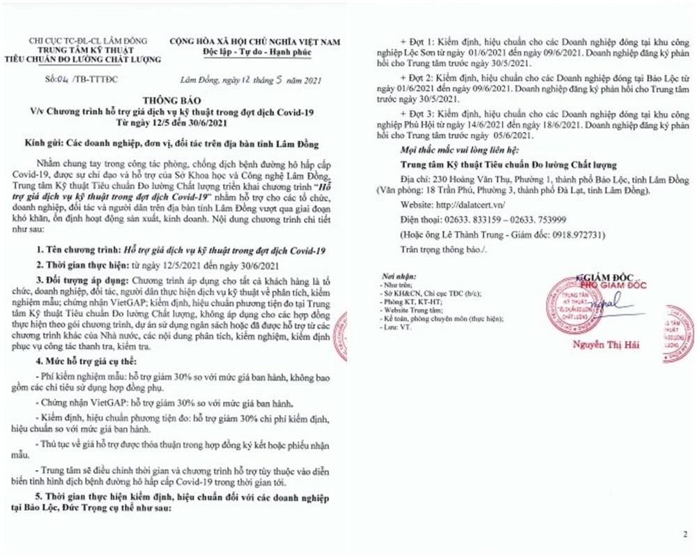 Thông báo của Trung tâm Kỹ thuật Tiêu chuẩn Đo lường Chất lượng tỉnh Lâm Đồng.