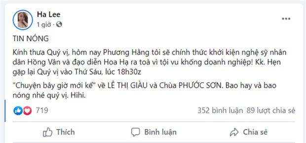 Nóng: Đại gia Phương Hằng tuyên bố khởi kiện NSND Hồng Vân và NSƯT Hoa Hạ sau khi bị đá xéo - Ảnh 1.