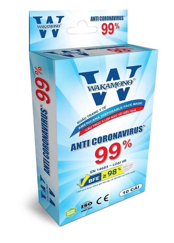 khẩu trang kháng khuẩn, ngăn ngừa virus thương hiệu Wakamono.