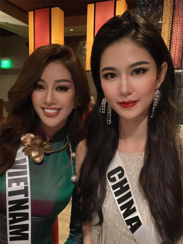 Khánh Vân diện áo dài đọ sắc bên Hoa hậu Trung Quốc, nhan sắc liệu có lấn át đối thủ? - Ảnh 2.
