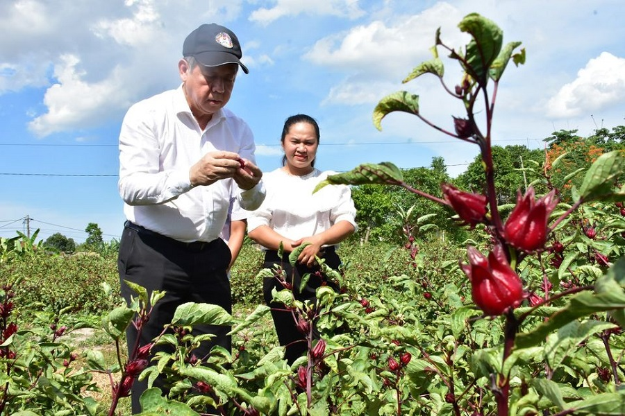 Chủ tịch UBND tỉnh Thừa Thiên Huế Phan Ngọc Thọ thăm dự án khởi nghiệp của các bạn trẻ trên địa bàn tỉnh.