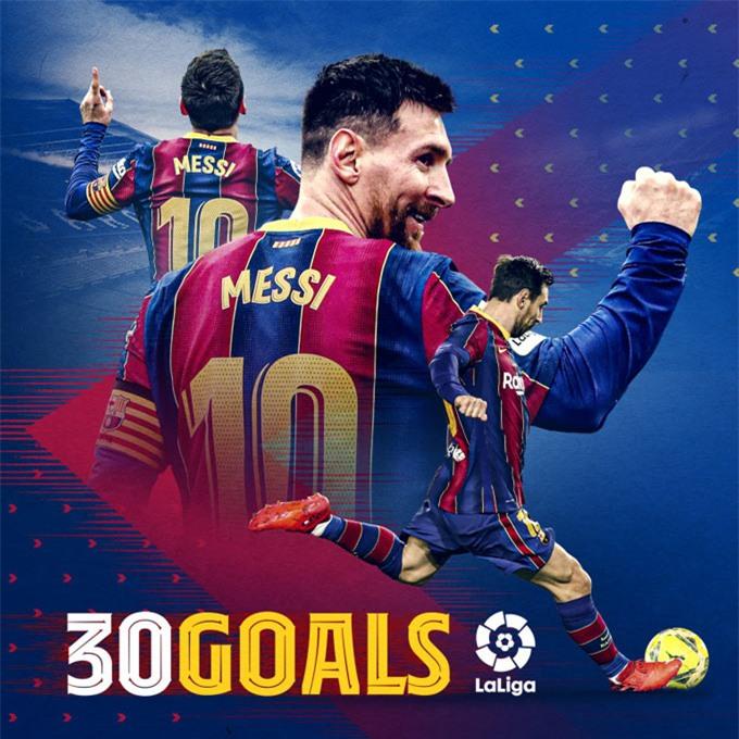 Messi có mùa thứ 9 đạt mốc 30 bàn thắng tại La Liga