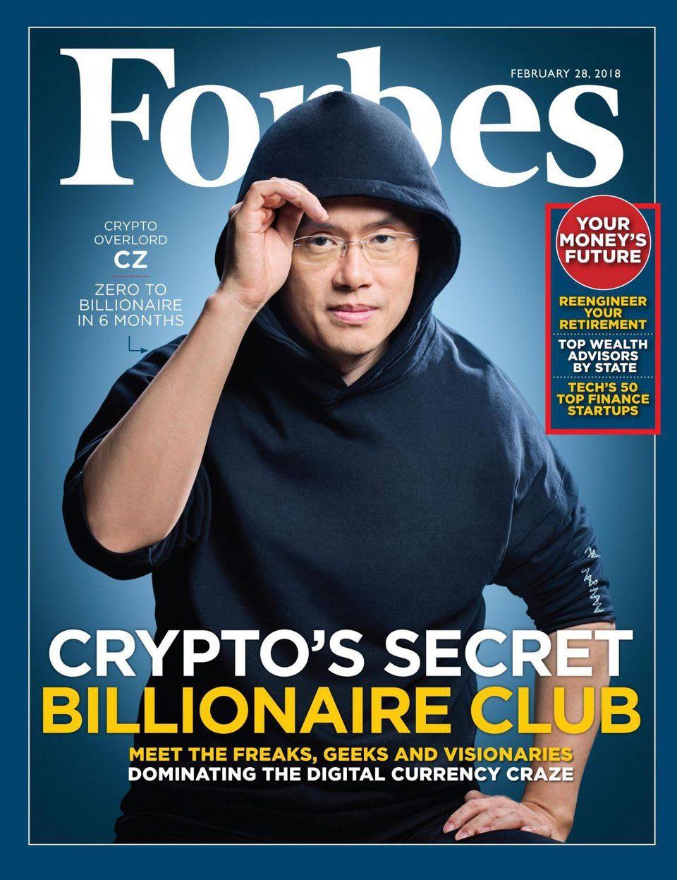 Changpeng Zhao, 41 tuổi, người sáng lập sàn giao dịch tiền ảo lớn nhất thế giới Binance từng được lên trang bìa tạp chí Forbes vì góp mặt trong câu lạc bộ tỉ phú tiền ảo bí mật.