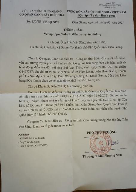 Thông báo tạm đình chỉ điều tra vụ án của Cơ quan CSĐT Công an Kiên Giang.
