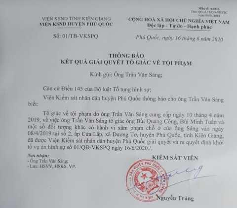 Thông báo đã khởi tố vụ án hình sự của Viện Kiểm sát ND Phú Quốc.