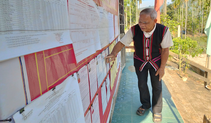 Cử tri xã Hương Sơn, huyện Nam Đông xem danh sách niêm yết ứng cử viên.