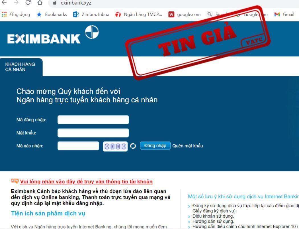 Trang web lừa đảo có giao diện y hệt như trang web của Eximbank