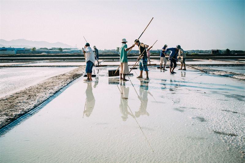 Hàng năm, cánh đồng muối Long Điền còn đón lượng lớn khách du lịch tới tham quan, trải nghiệm. Ảnh: Nguyễn Hoàng Phi.