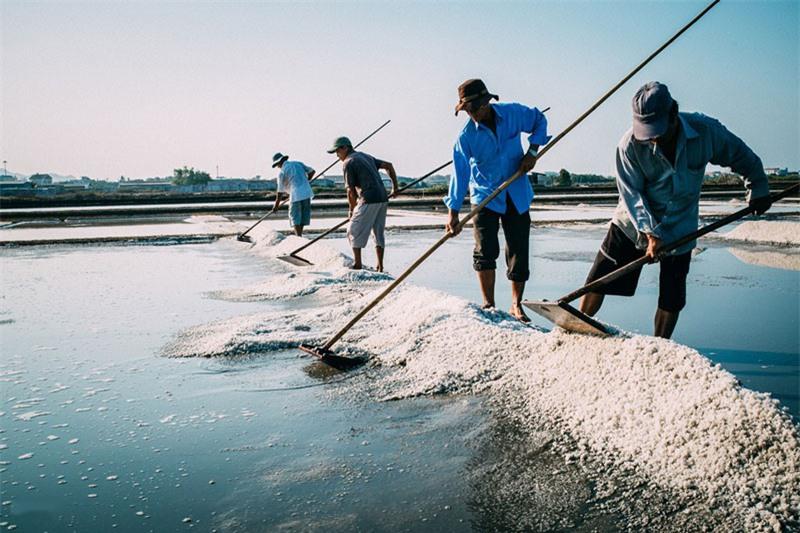 Trời nắng là thời điểm thích hợp nhất để sản xuất muối. Ảnh: Nguyễn Hoàng Phi.