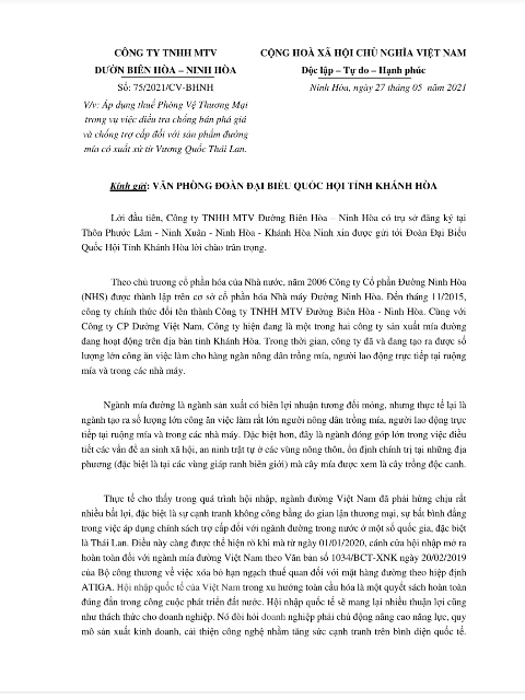 Kiến nghị áp dụng các biện pháp phòng vệ thương mại chính thức của Công ty TNHH MTV đường Biên Hòa – Ninh Hòa.