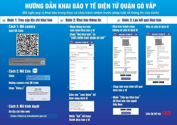 Các bước hướng dẫn khai báo y tế điện tử quận Gò Vấp. Ảnh: Thông tin Chính phủ.