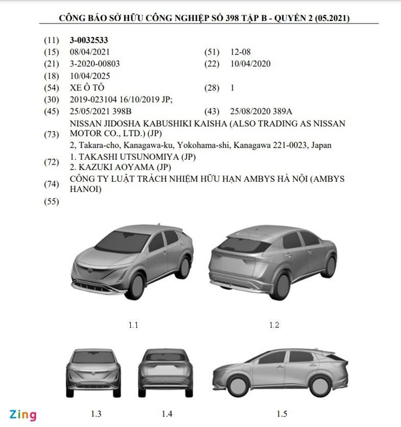 Thông tin đăng ký bản quyền công nghiệp của Nissan Ariya tại Việt Nam.
