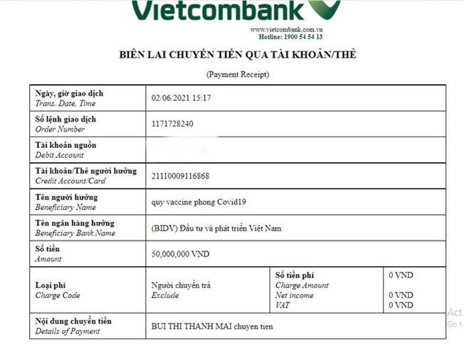 Sau Vy Oanh, lại thêm một mỹ nhân Việt bị nghi làm giả biên lai chuyển tiền ủng hộ mua vắc xin Covid-19 - Ảnh 4.