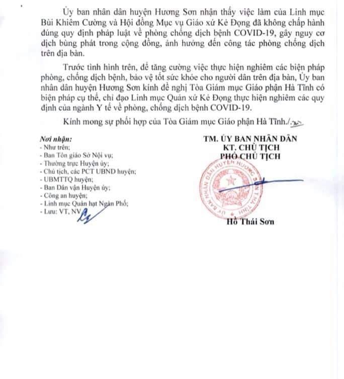 UBND huyện Hương Sơn gửi văn bản tới Tòa Giám mục GP Hà Tĩnh