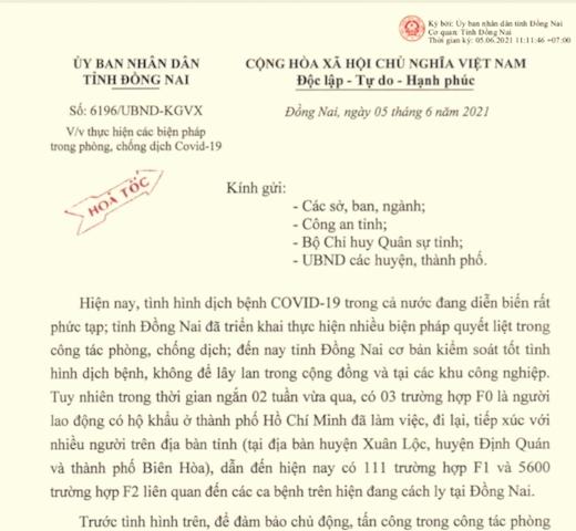 Văn bản hỏa tốc do UBND tỉnh Đồng Nai ban hành trong ngày 5/6.