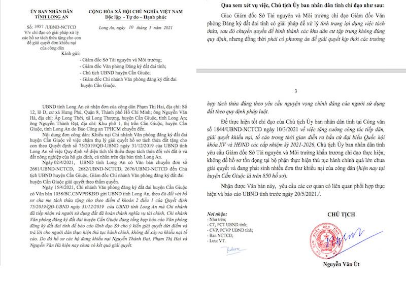 Văn bản do Chủ tịch UBND tỉnh Long chỉ đạo Giám đóc Sở TN&MT cùng các ban ngành nghiêm túc thực hiên Quyết định 75/2019/QĐ-UBND về vấn đề tách thửa cho người dân. (Ảnh: VĐ)