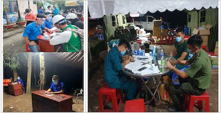 Đêm cũng như ngày, các lực lượng thanh niên tình nguyện hăng hái thay phiên nhau túc trực tại các chốt ngăn dịch ở những tuyến đường huyết mạch trên địa bàn tỉnh Bình Phước