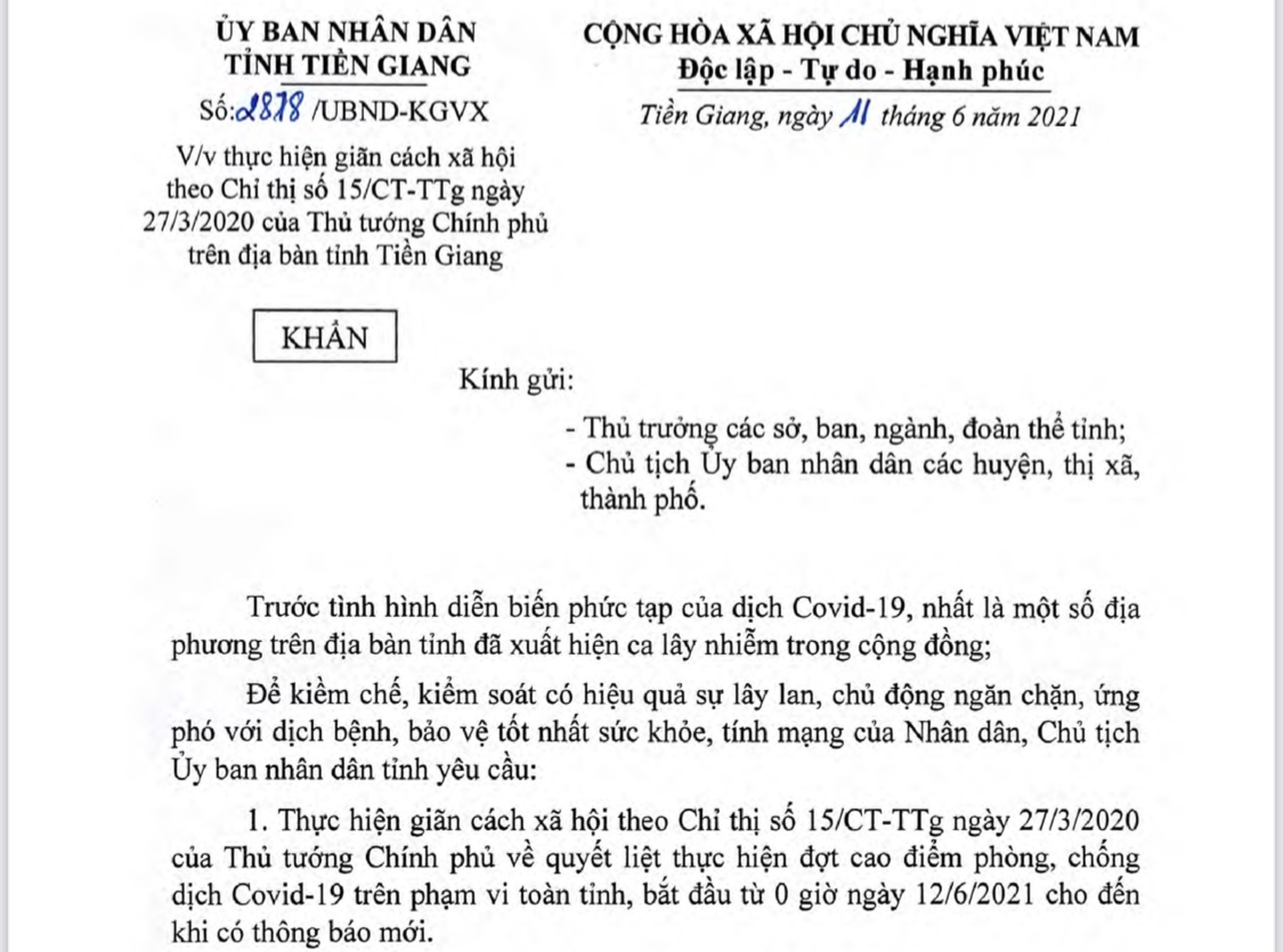 Tiền Giang ban hành công văn khẩn cấp giãn cách xã hội theo Chỉ thị 15 của Thủ tướng Chính phủ - Ảnh: Nhật Hạ.