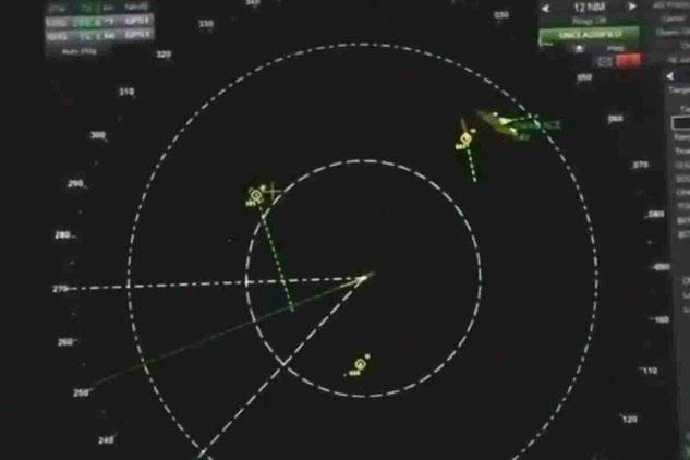 Hình ảnh radar cho thấy UFO bao vây tàu chiến Mỹ ngoài khơi San Diego, California năm 2019. Ảnh: Jeremy Corbell