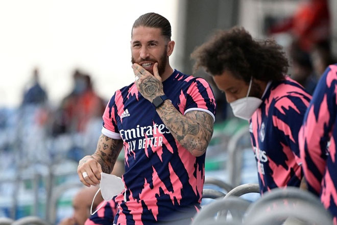 Ramos không có nhiều đóng góp cho Real ở mùa 2020/21 vì những chấn thương liên tiếp. Ảnh: Getty.