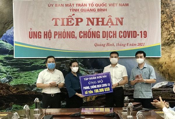 Hưởng ứng lời kêu gọi ủng hộ phòng chống dịch covid-19, tập đoàn Sơn Hải đã ủng hộ số tiền 100.000 USD