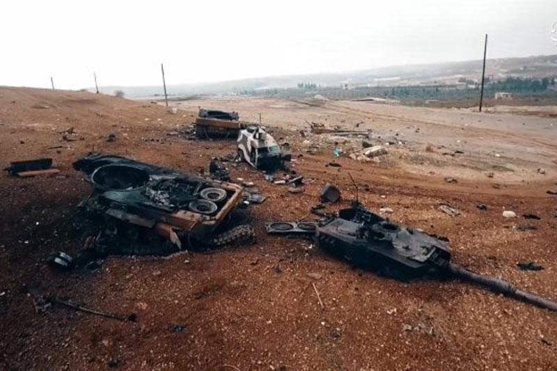 Một chiếc xe tăng bị phá hủy.