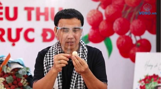 Nghệ sĩ Quyền Linh bán 161 tấn vải thiều sau 90 phút livestream