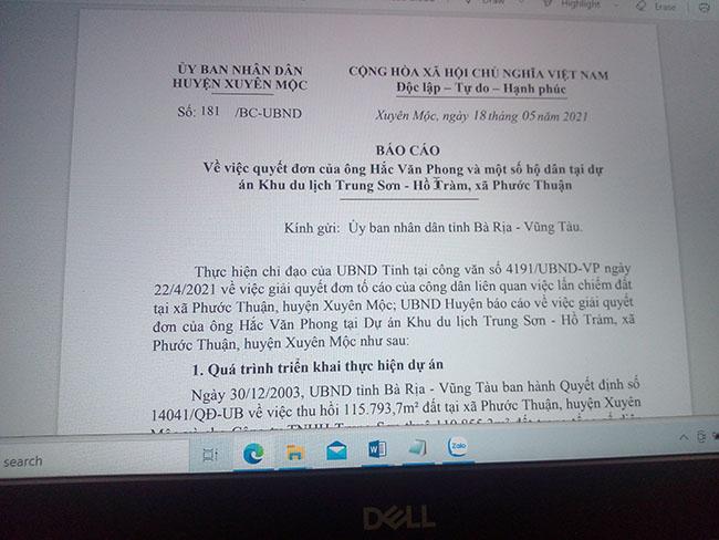 Báo cáo số 181/BC-UBND ngày 18/5/2021 của UBND huyện Xuyên Mộc