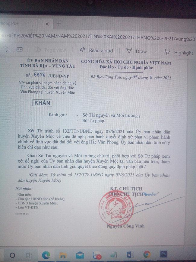 Văn bản 6828/UBND-VP ngày 15/6/2021 của Phó Chủ tịch UBND tỉnh Nguyễn Công Vinh giao Sở Tài nguyên và Môi trường, Sở Tư pháp tham mưu UBND tỉnh xử phạt 350 triệu đồng với ông Hắc Văn Phong.