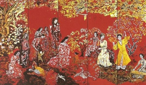 Nguyễn Gia Trí là một họa sĩ, nhà đồ họa, biếm họa Việt Nam. Ông cùng Tô Ngọc Vân, Nguyễn Tường Lân, Trần Văn Cẩn tạo thành bộ tứ danh họa thời kỳ đầu của nền mỹ thuật Việt Nam. Tác phẩm Vườn xuân Trung Nam Bắc của ông từng đạt được nhiều kỷ lục như: Kích thước lớn nhất, phối hợp nhiều chất liệu truyền thống. Vườn xuân Trung Nam Bắc là tác phẩm được ghép từ 9 mảnh ván làm vóc, được họa sĩ Nguyễn Gia Trí sáng tác trong gần 20 năm. Tác phẩm là một trong những bảo vật quốc gia. Ảnh: Tạp chí Mỹ thuật.