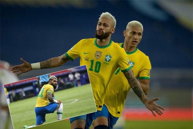 Có đến 3 tiền đạo của Brazil sở hữu mái tóc bạch kim