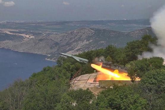 Tên lửa phòng thủ bờ biển chống hạm Utyos khai hỏa trong cuộc tập trận của Hải quân Nga ở Biển Đen. Ảnh: TASS