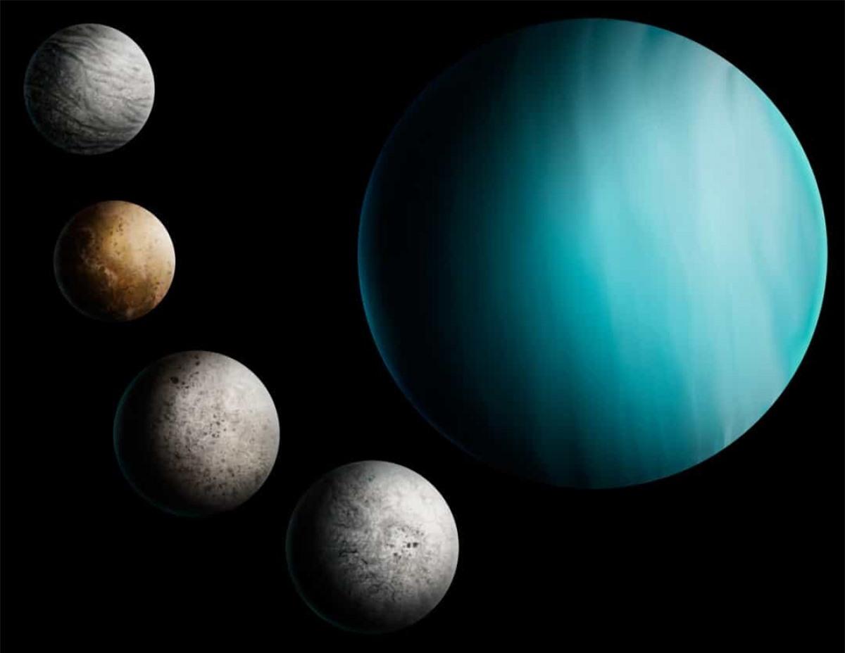 Ngắm trăng trên bầu trời đêm sẽ là một trải nghiệm ấn tượng nếu bạn quan sát từ sao Thiên Vương bởi hành tinh này có tới 27 Mặt Trăng.