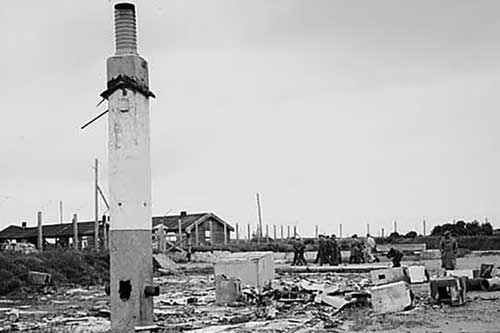 Trại tập trung Sylt năm 1945. Quân Đức đã phá hủy phần lớn trại năm 1944. Ảnh: Dailymail.