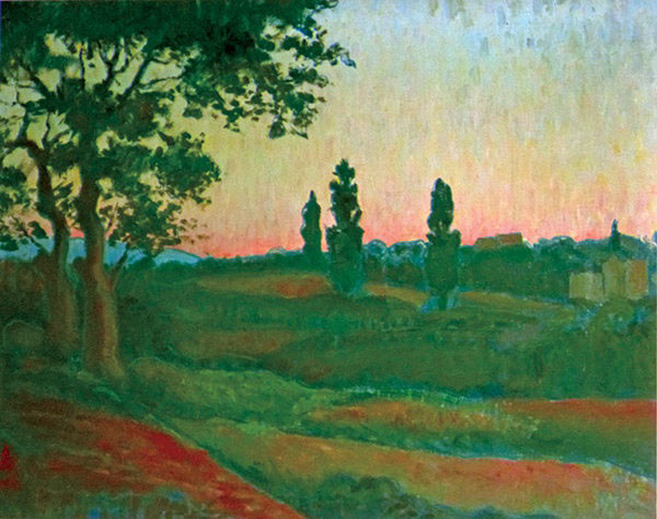Trong số các tác phẩm hội họa của vua Hàm Nghi, bức tranh Chiều tà được sáng tác năm 1915, là tác phẩm nổi tiếng nhất. Năm 2010, bức tranh này đã được bán với giá 8.800 euro trong một hội chợ triển lãm ở Paris (Pháp). Bức tranh chiều tà của vua Hàm Nghi. Ảnh: Báo Văn Nghệ.