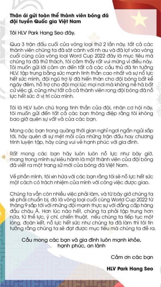 HLV Park Hang Seo gửi tâm thư tới tuyển Việt Nam