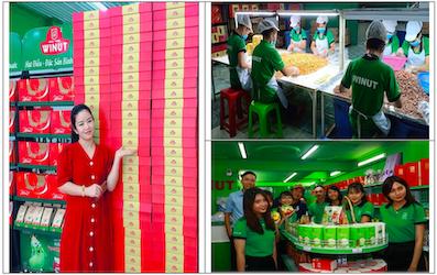 Chị Lê Thị Thanh Thảo - Giám đốc Công ty TNHH Xuất nhập khẩu Phúc Thịnh Winut (hình trái) cho biết các công nhân ở Công ty của chị luôn kiểm tra lại thật kỹ lưỡng từng hạt điều sau khi được chế biến (hình trên, bên phải)