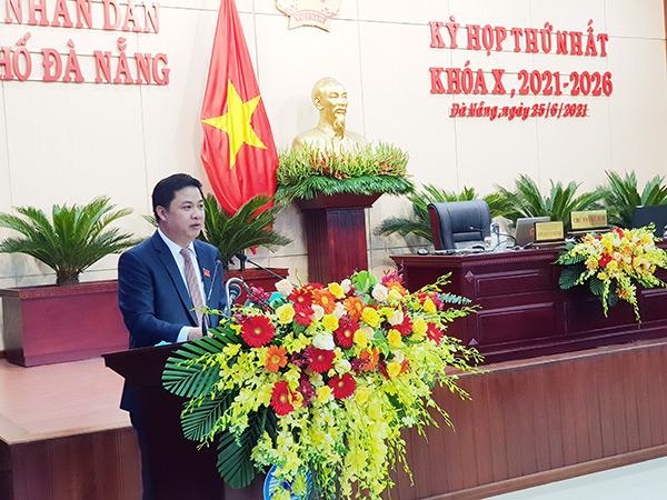 Ông Lương Nguyễn Minh Triết, Chủ tịch HĐND TP Đà Nẵng khóa X nhiệm kỳ 2021 - 2026 phát biểu nhận nhiệm vụ