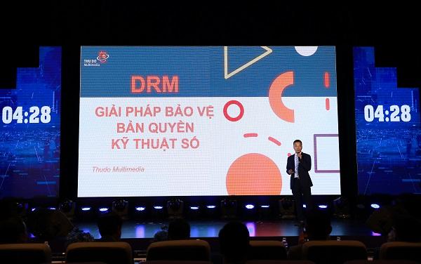 Ông Nguyễn Ngọc Hân giới thiệu giải pháp Sigma DRM tại cuộc thi Vietsolution 2020.