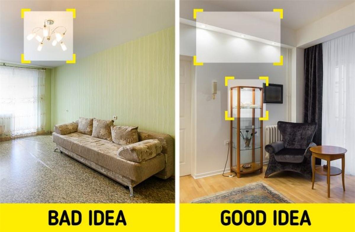 Không đủ ánh sáng: Để làm căn phòng trông lớn hơn, bạn cần phải chiếu sáng đủ mọi ngóc ngách. Việc sắp đặt đèn trong phòng cũng phải được cân nhắc để tránh choán quá nhiều không gian.