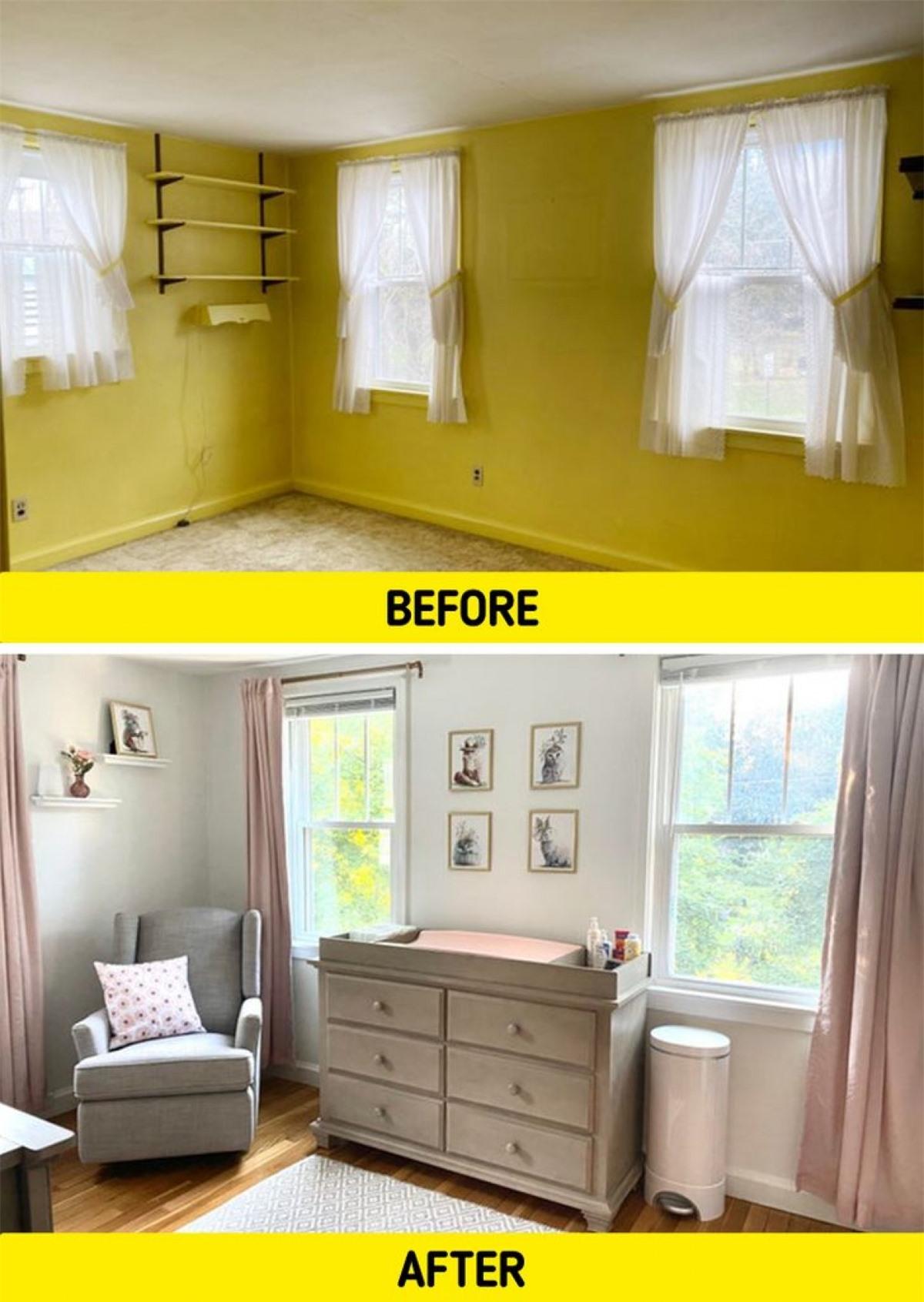 Căn phòng màu vàng nhàm chán, tẻ nhạt và quê mùa đã được lột xác với màu sơn tường sáng, sàn gỗ ấm áp. Những bức rèm cửa cầu kỳ cũng được thay thế bằng loại rèm đơn giản và nhẹ nhàng. Cùng một vài món nội thất đơn giản, căn phòng đã trở lên ấm cúng hơn rất nhiều.