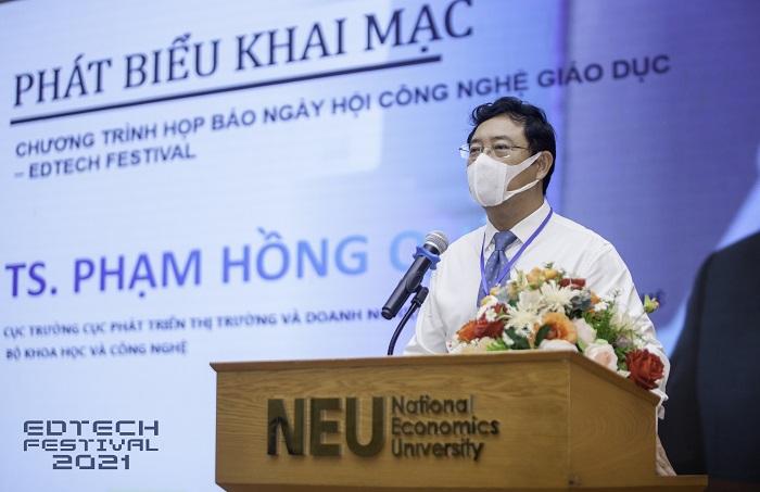 TS. Phạm Hồng Quất – Cục trưởng Cục Phát triển thị trường và doanh nghiệp khoa và học công nghệ thuộc Bộ Khoa học và Công nghệ (KH&CN) phát biểu khai mạc sự kiện.