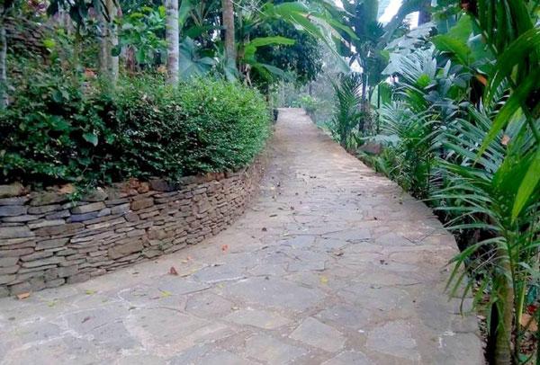 Lối đi trong làng được lát đá, hàng rào bằng đá.