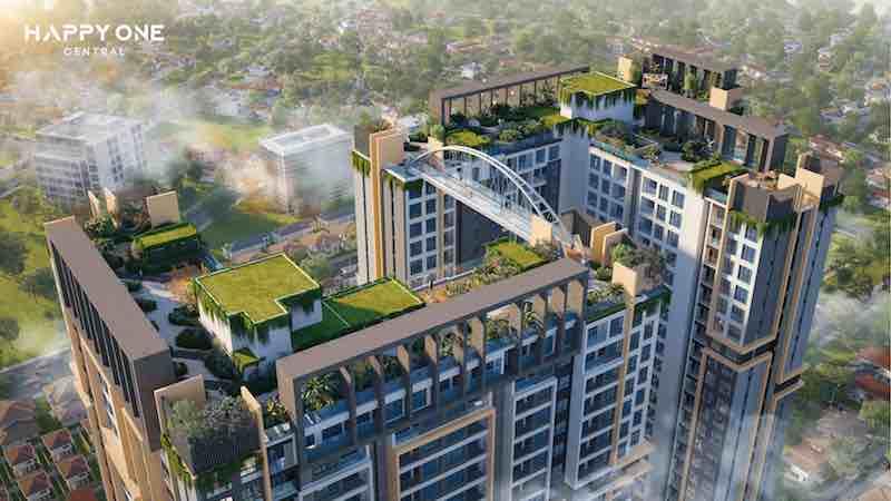 Với mật độ xây dựng chỉ 34%, Happy One - Central được bao phủ bởi không gian xanh theo phong cách Singapore.