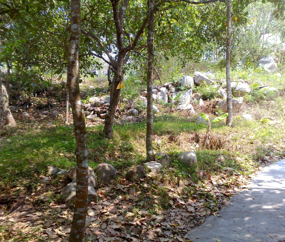 Long Mountain Five Wells has the word Ngu Ho Son, also known as Small Dai Mountain.  The name of this mountain comes from the fact that the mountain has 5 places where the ground is as deep as a well.  Although the mountain is dangerous, there are many beautiful scenes, the garden is full of fruit all year round.  Nam Long Mountain is located opposite Mount Ket.  Photo: Nguyen Hoai Bao.